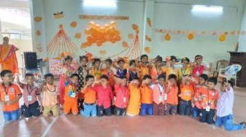 """Orange day celebrated by KG students with various activities. Colour awareness classes were delivered with special emphazise to the colour """"Orange"""". KG students were anchored the event"""