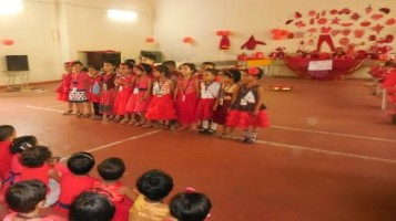"""Red day celebrated by our KG students with various activities. Color awareness sessions were delivered with special emphasize to the color """"RED"""". KG students anchored the event."""