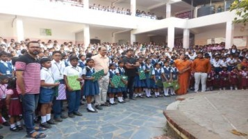 In School Assembly, small gifts distributed to the Children, who anchored Ahalia Radio Programs on Children's day.