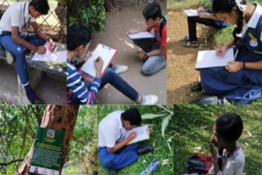 """Students participated in the Botanical illustration contest called """"Art in the Park"""" at Kottamaidanam, Vadika Garden. The event was conducted jointly by Victoria College Botany Alumni Association, District Tourism Promotion Council and INTACH."""
