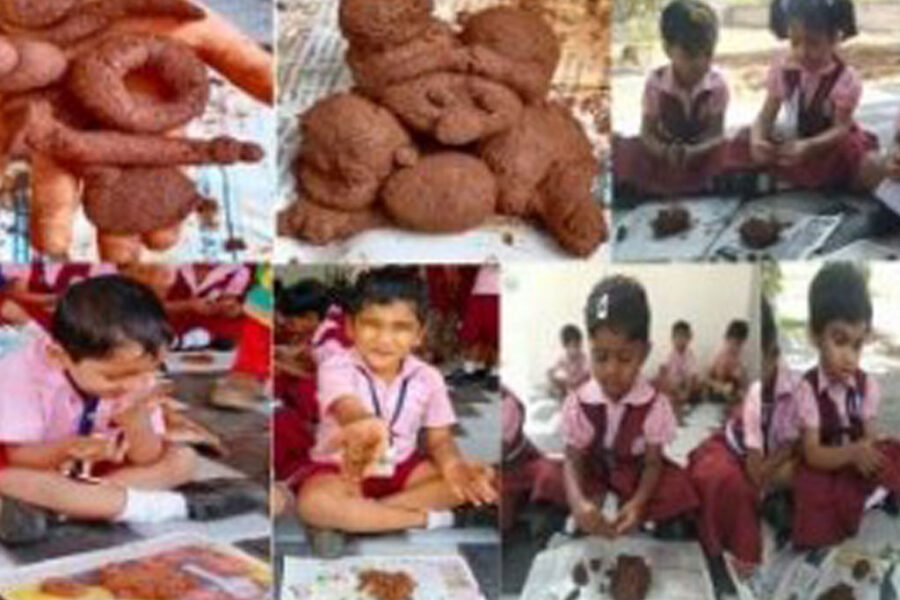 KG - Clay Modelling : Class and training session conducted for all KG students on the topic Clay Modelling and under the direct supervision of teachers, each student prepared their own clay models.